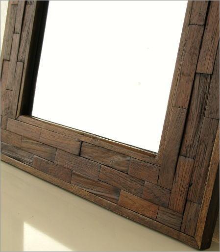 壁掛けミラー 木製 壁掛け組み木ミラー(3)