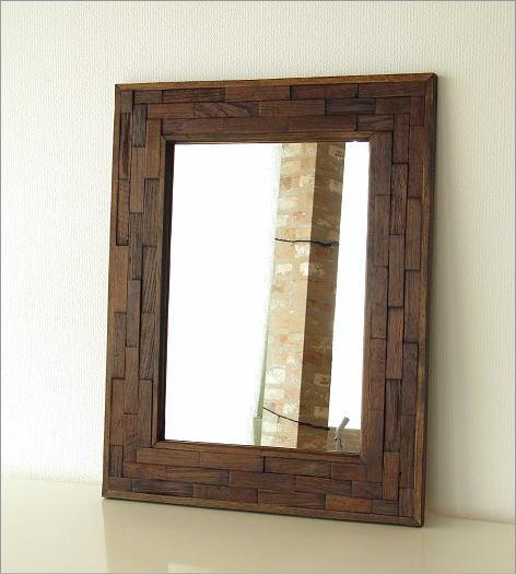 木製 おしゃれな壁掛け組み木ミラー(5)