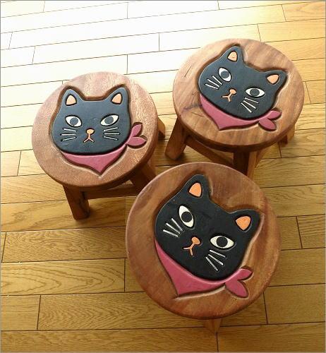 子供椅子 スカーフ黒ネコさん(6)