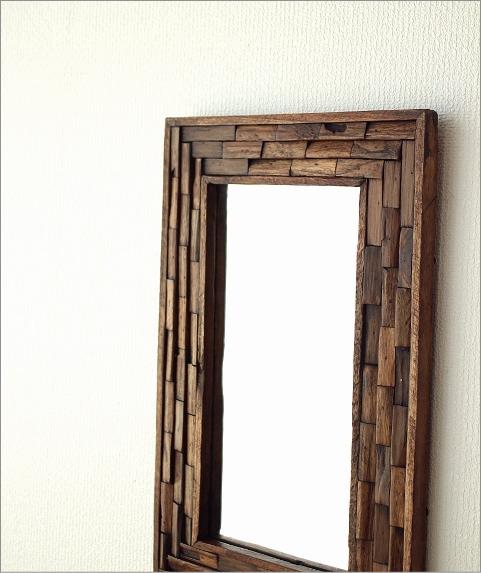 ウォールミラー 壁掛け組み木ミラー M(1)