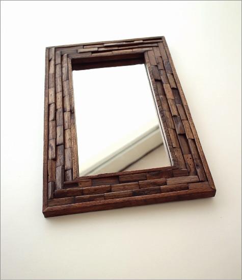 鏡 壁掛け組み木ミラー M(2)