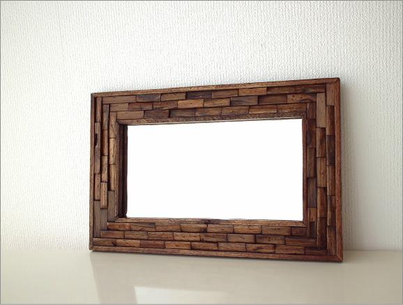 アジアン 壁掛け組み木ミラー M(4)