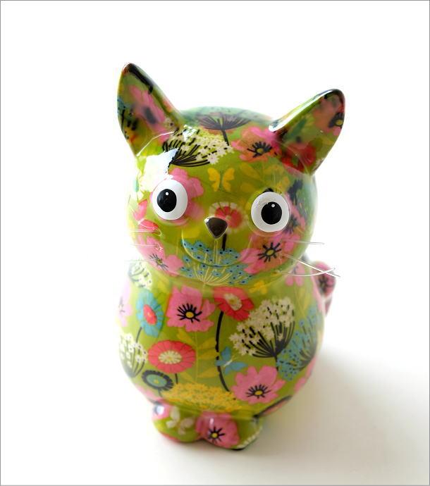陶器のカラフル貯金箱 おすわりネコ(1)