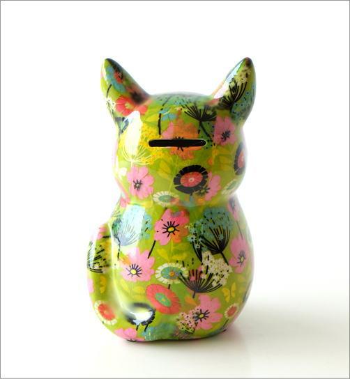 陶器のカラフル貯金箱 おすわりネコ(2)