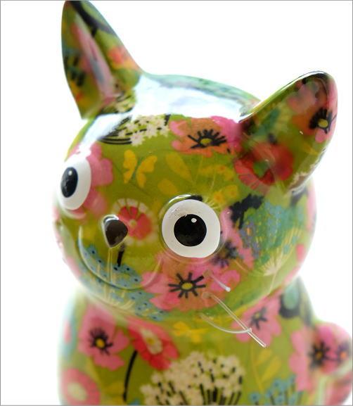 陶器のカラフル貯金箱 おすわりネコ(4)