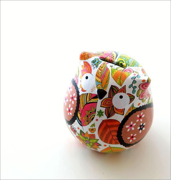 陶器のカラフル貯金箱 フクロウ(1)