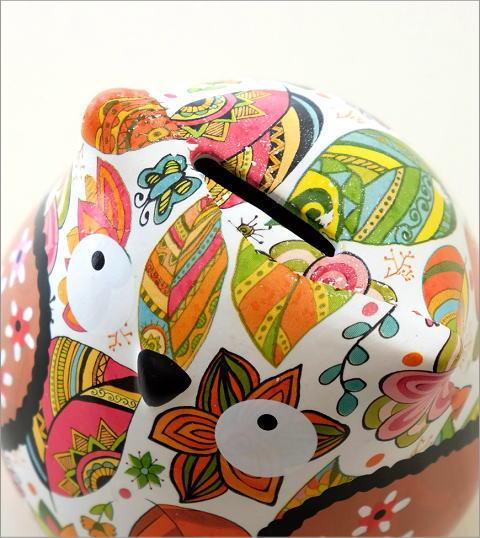 陶器のカラフル貯金箱 フクロウ(3)