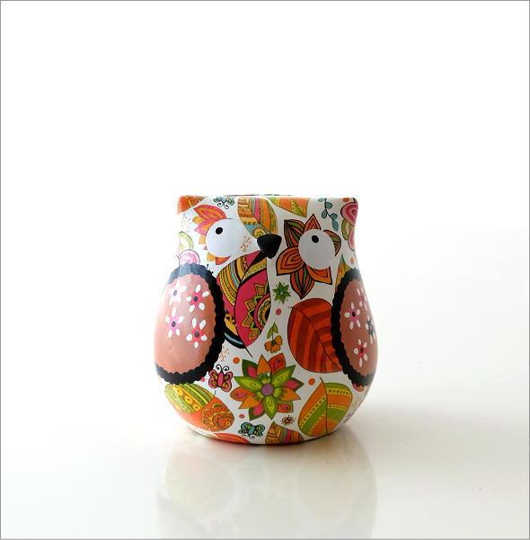 陶器のカラフル貯金箱 フクロウ(6)