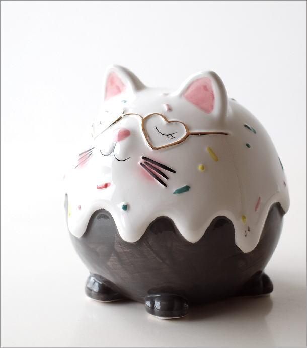 陶器の貯金箱 メガネネコ(1)