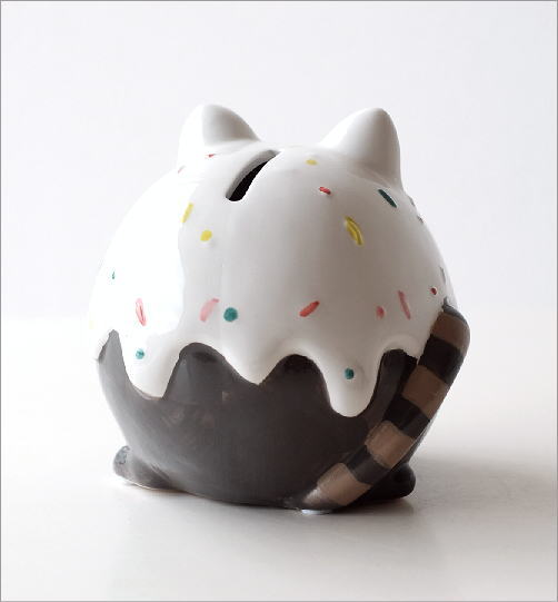 陶器の貯金箱 メガネネコ(2)
