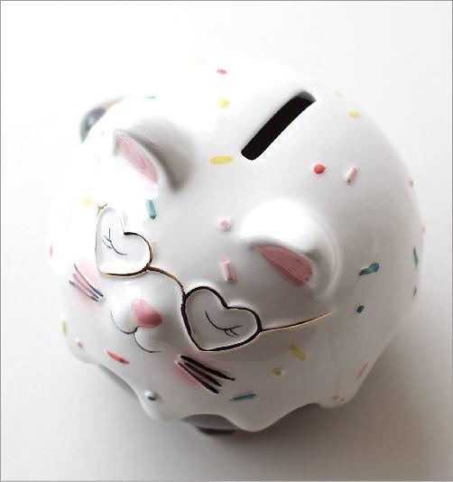 陶器の貯金箱 メガネネコ(3)