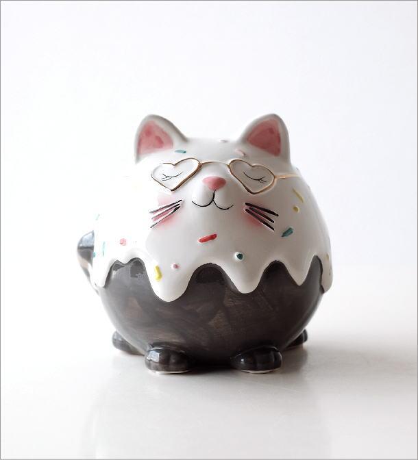 陶器の貯金箱 メガネネコ(5)