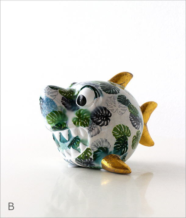 陶器の貯金箱 サメ2タイプ(6)