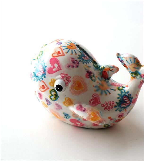 陶器の貯金箱 ハートクジラ(1)