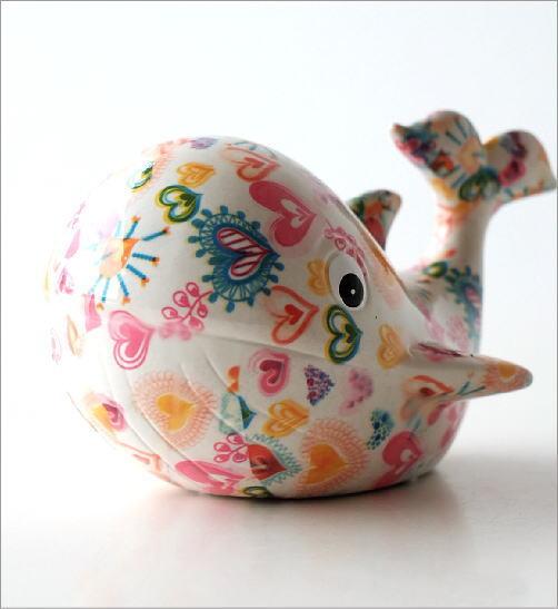 陶器の貯金箱 ハートクジラ(2)