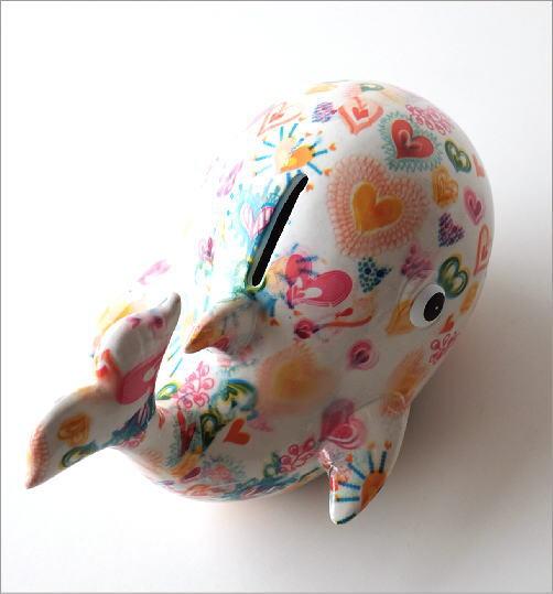 陶器の貯金箱 ハートクジラ(3)