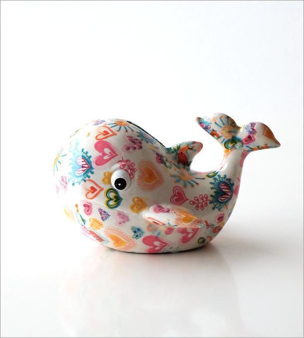陶器の貯金箱 ハートクジラ(5)