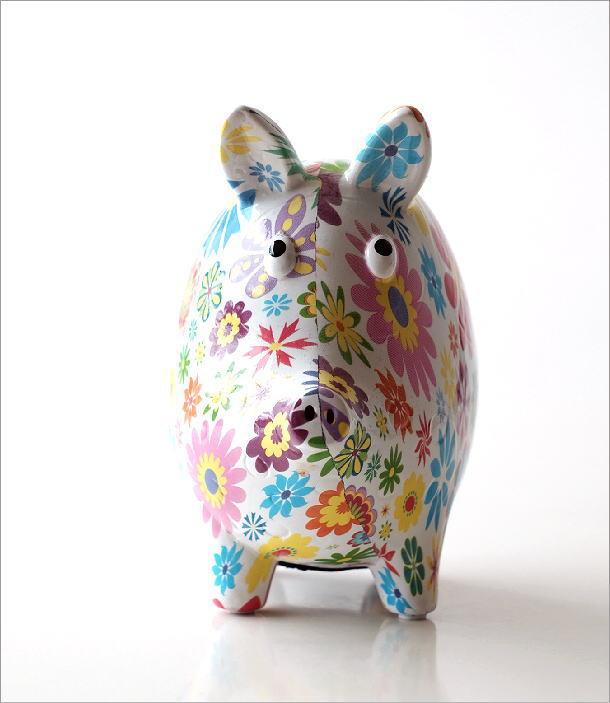 陶器の貯金箱 フラワーピッグ(1)
