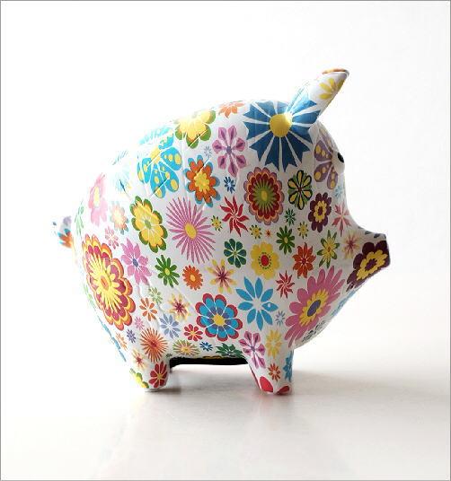 陶器の貯金箱 フラワーピッグ(2)