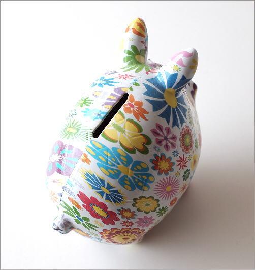 陶器の貯金箱 フラワーピッグ(3)
