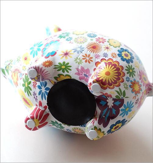 陶器の貯金箱 フラワーピッグ(4)