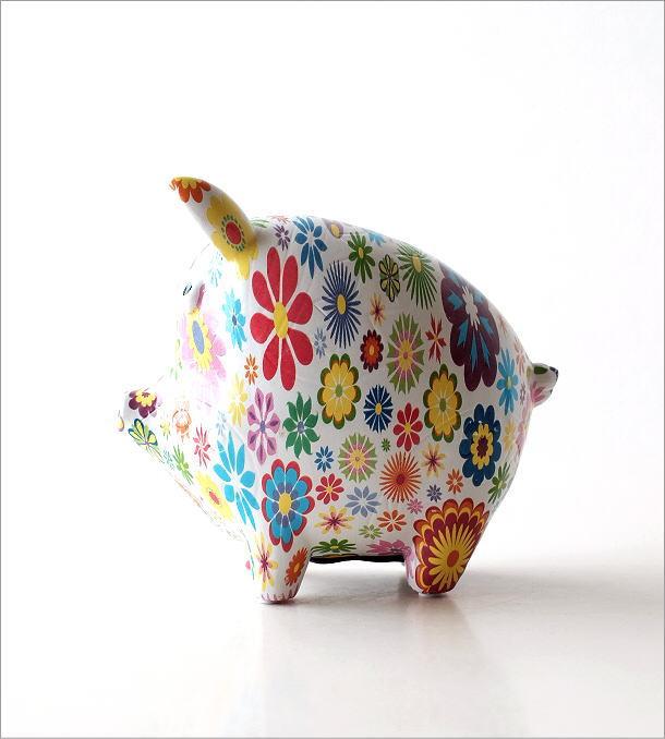 陶器の貯金箱 フラワーピッグ(5)