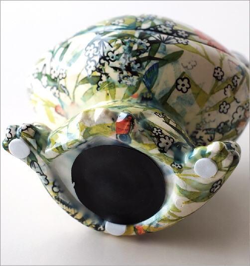 陶器の貯金箱 ボタニカルフロッグ(4)