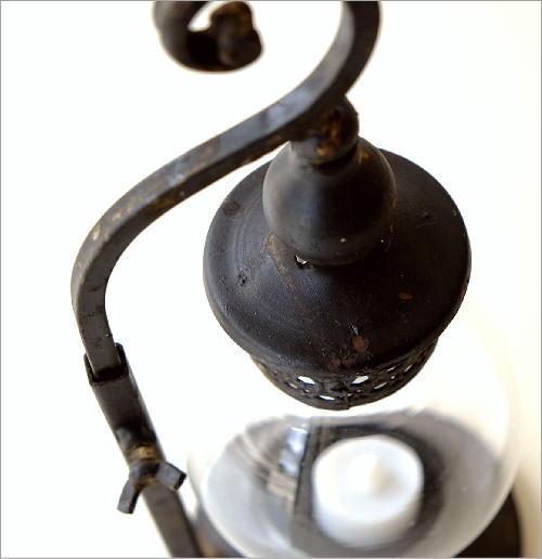 シャビーアイアンのLED付きキャンドルランタン B(3)