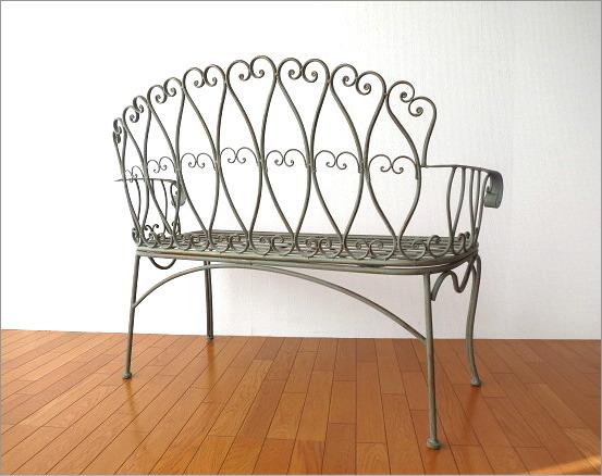 アイアンの2人掛けベンチ(4)