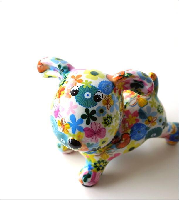 陶器のカラフル貯金箱 イヌ(1)