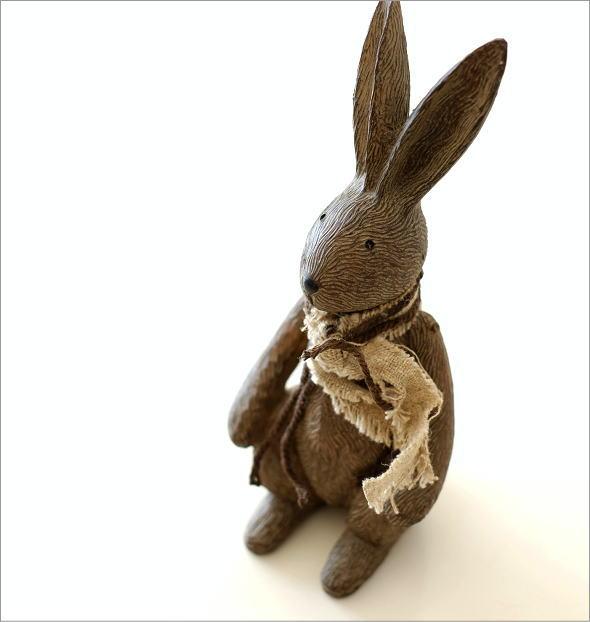 ウサギのオブジェ 木彫り風(1)