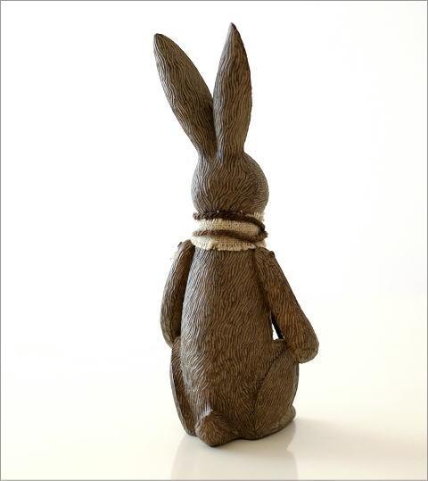 ウサギのオブジェ 木彫り風(3)