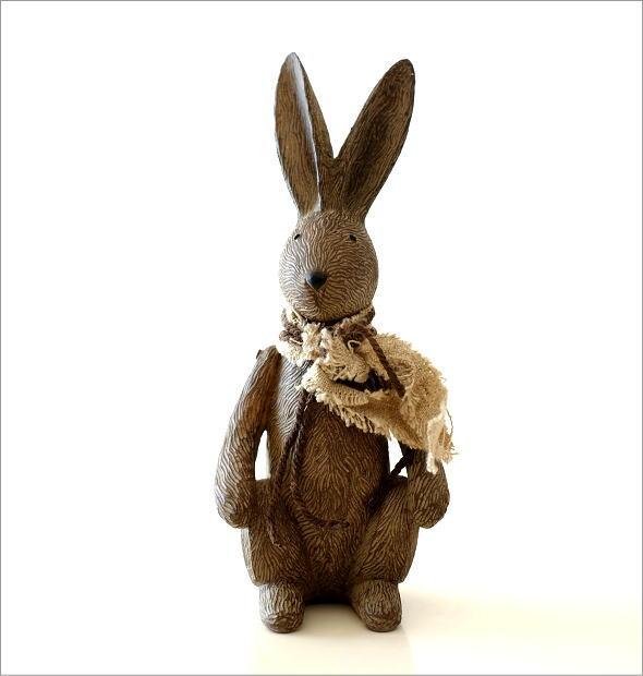 ウサギのオブジェ 木彫り風(4)