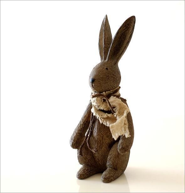 ウサギのオブジェ 木彫り風(5)