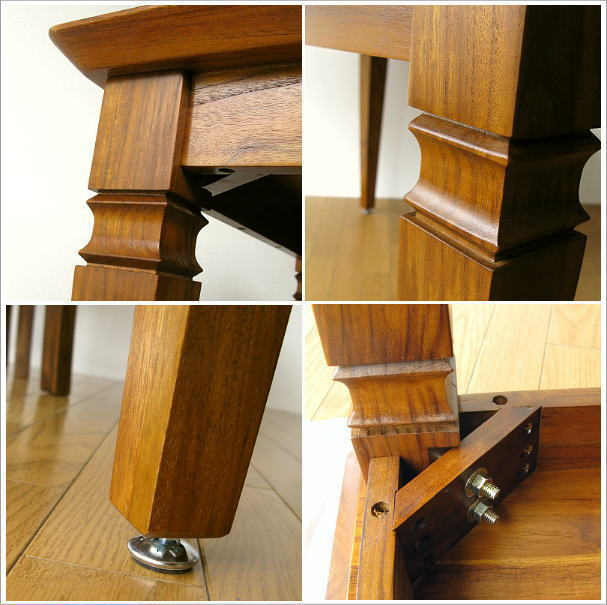 ダイニングテーブル 無垢 幅160cm(5) 脚や取り付け部分のイメージ