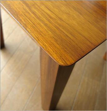 無垢 天然木製 チークコンパクトテーブル45(2)