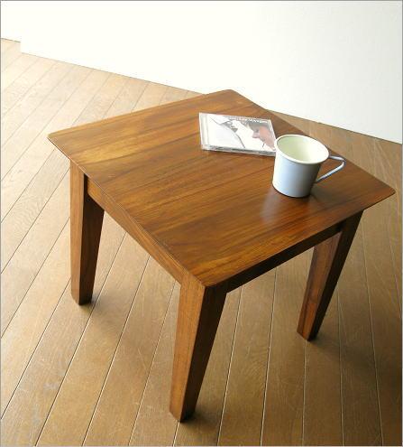 テーブル 45x45cm チークコンパクトテーブル45