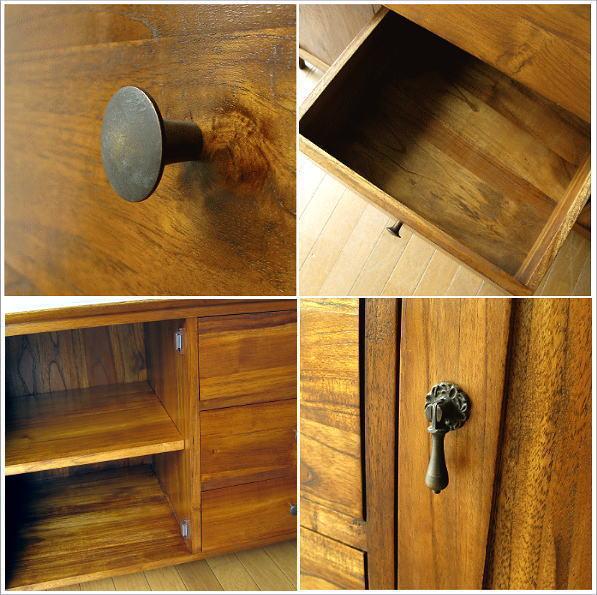 リビングボード 無垢 チークサイドボード136(3) 扉収納、引き出し内部