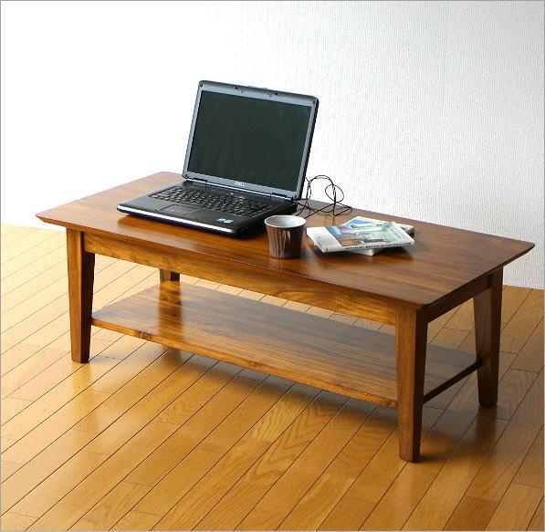 チークリビングテーブル110(4)