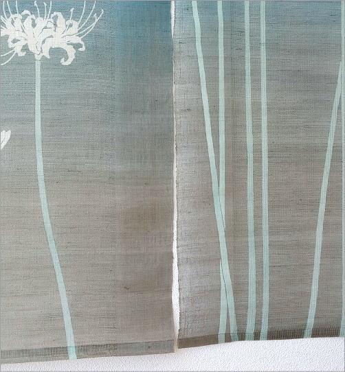 手染めすかし麻のれん 白彼岸花(4)