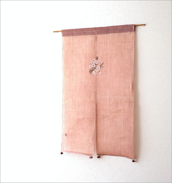 手染め麻のれん風音 桜(1)
