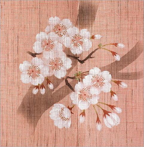 手染め麻のれん風音 桜(3)