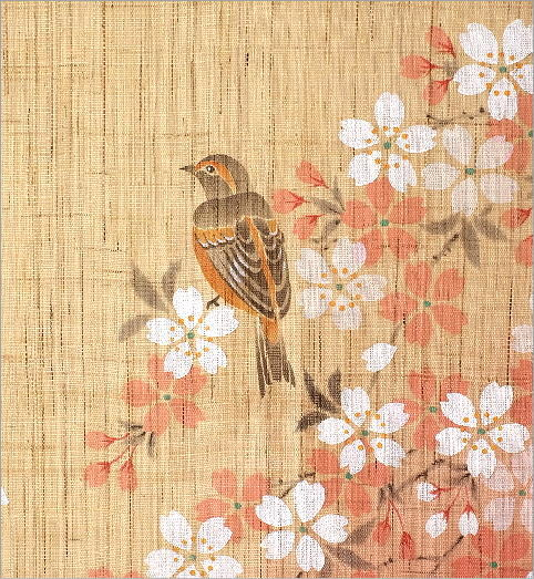 手染め麻のれん 桜に四十雀(3)