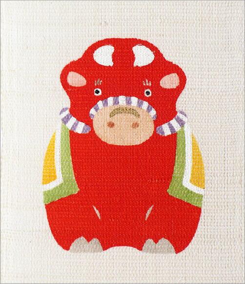 豆タペストリー 祝い梅に丑(3)