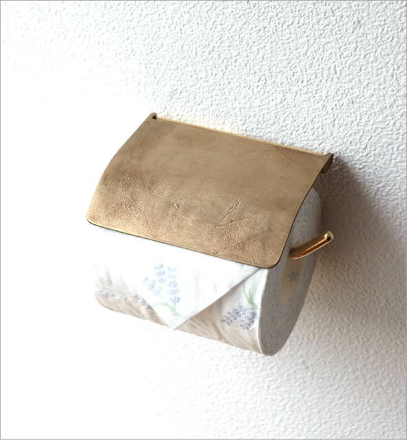 手作り感のあるゴールドの真鍮トイレットペーパーホルダー