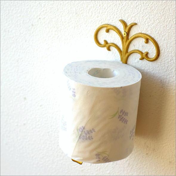アンティークゴールドの真鍮製トイレットペーパースタンド