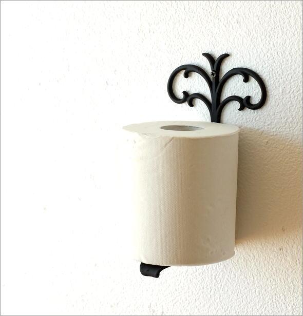壁掛けの黒色真鍮トイレットペーパースタンド