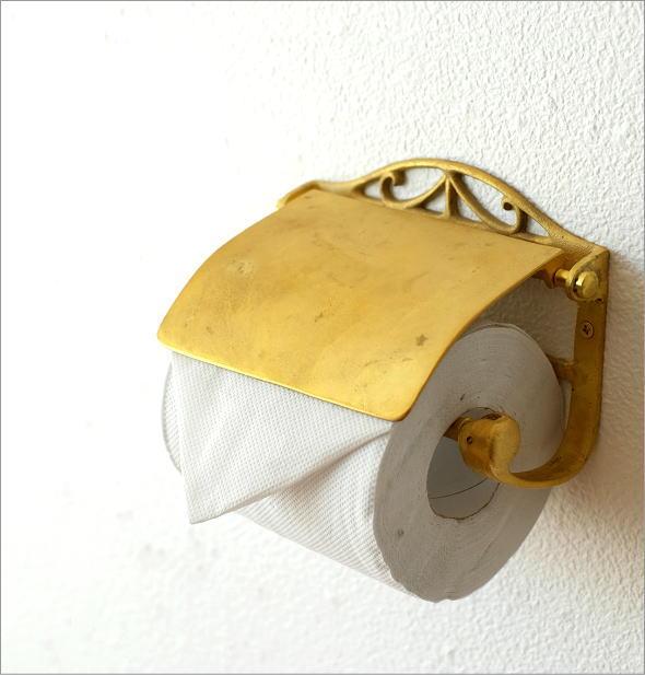 アンティークゴールドのトイレットペーパーホルダー
